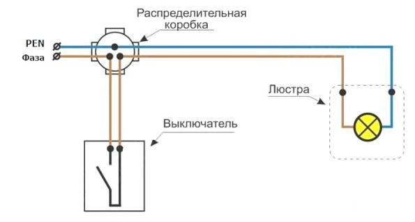 Схема подключения люстры на 2 лампы